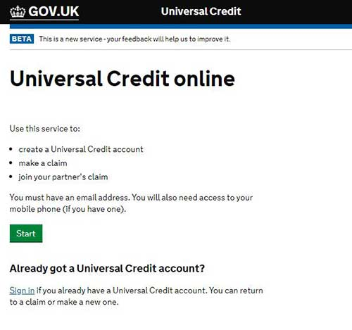 create an account to apply for universal credit