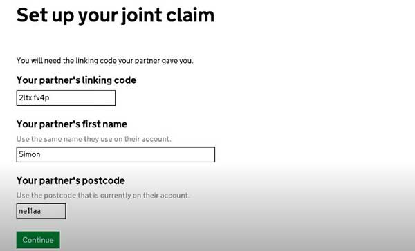 joint claim with linking code on universal credit