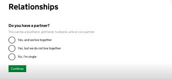 relationships to make a joint claim on universal credit